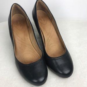 Clarks Indigo Sz 11 Black Wedge Heel Shoes